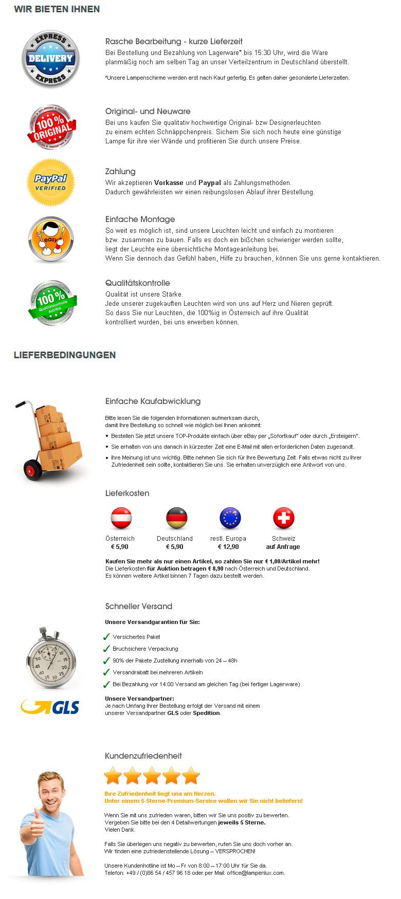 LAMPENLUX Lieferkonditionen, Kundenzufriedenheit, Versandkosten