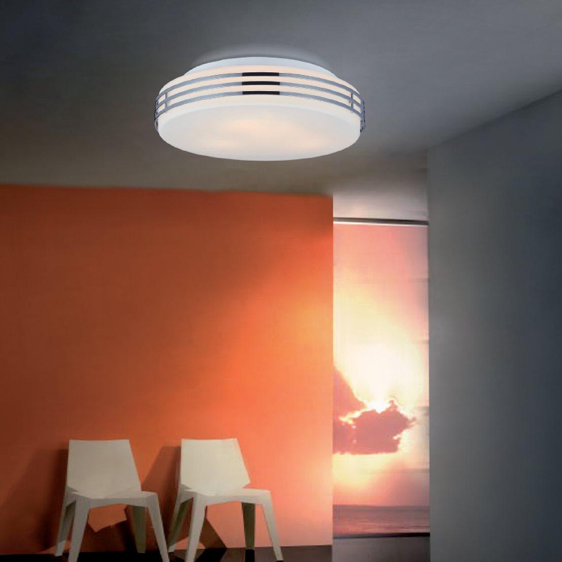 Deckenlampe deckenleuchte dali glasschirm chrom g9 e27 for Deckenlampe e27