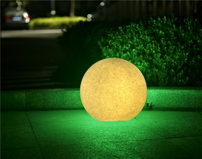 LED Aussenleuchte Kimbo IP65 Gartenlampe E27 Steinoptik Kugellampe Ø56/45/38cm IP65 230V
