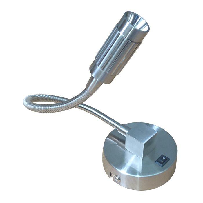 Lampenlux LED Wandlampe Wandleuchte Nico Leselampe Leseleuchte Schwanenhals Flexiarm Schwarz Nickel Gold 2W Länge: 30 cm