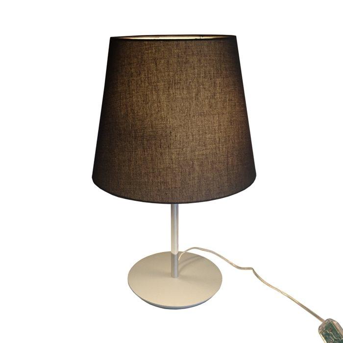 Lampenlux LED Tischlampe Maras Nachttischlampe Bettleuchte Stoff Chrom Deko 230V