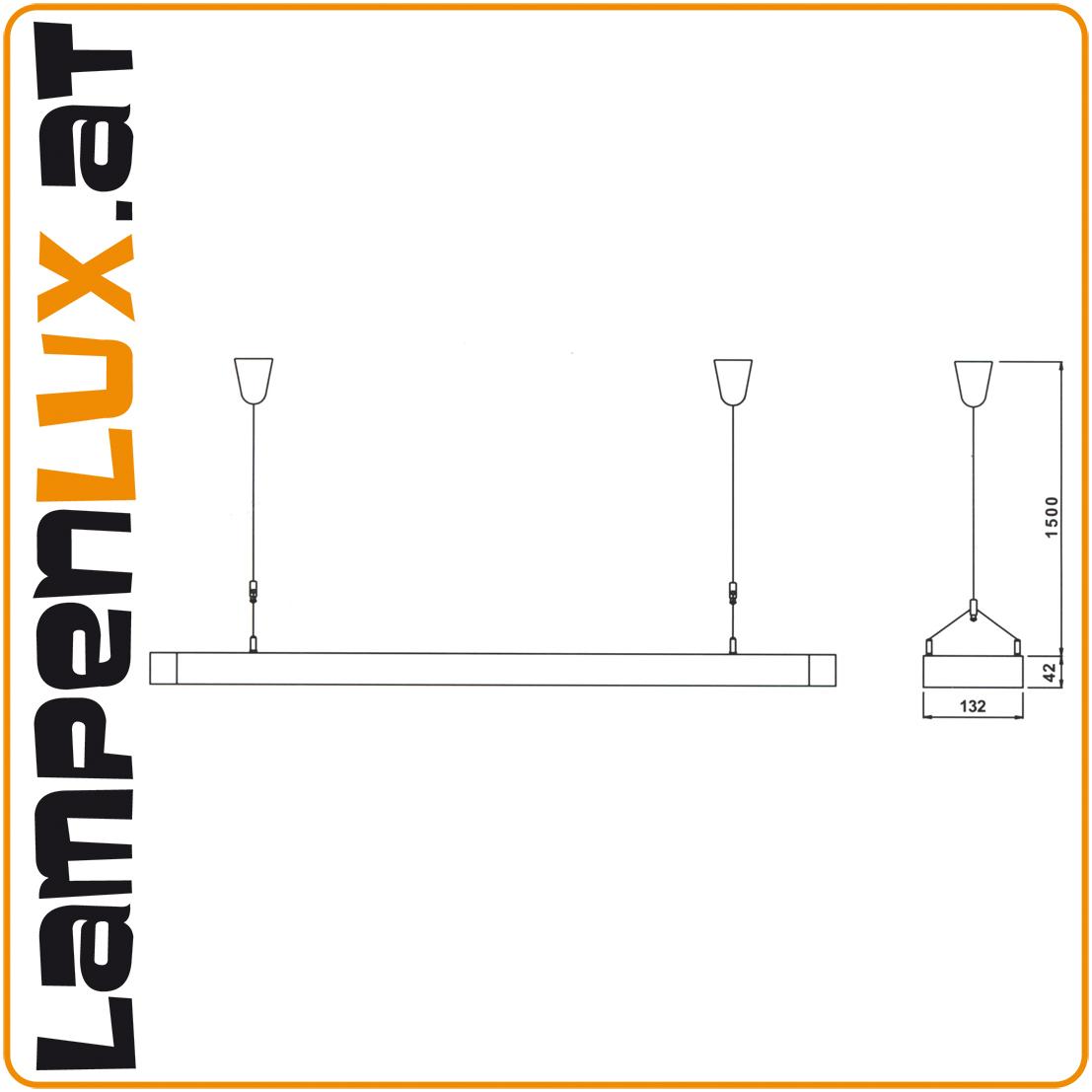 Lampenlux Pendelleuchte Anjuk Hängeleuchte Bürolampe Silber 150cm Höhenverstellbar Licht