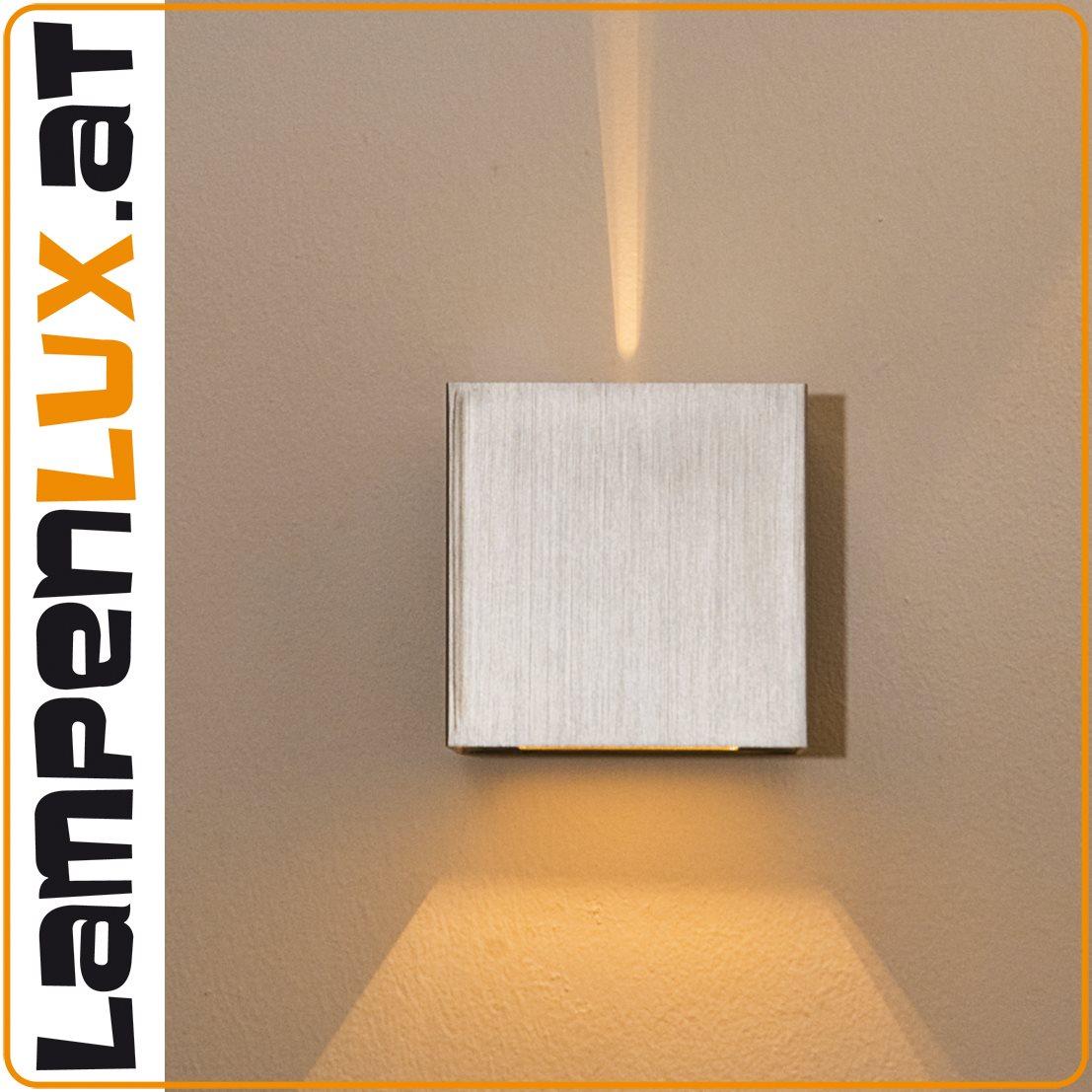 Lampenlux LED Wandlampe Amon Wandleuchte Effektlampe Eckig Up Down Nickel Aluminium