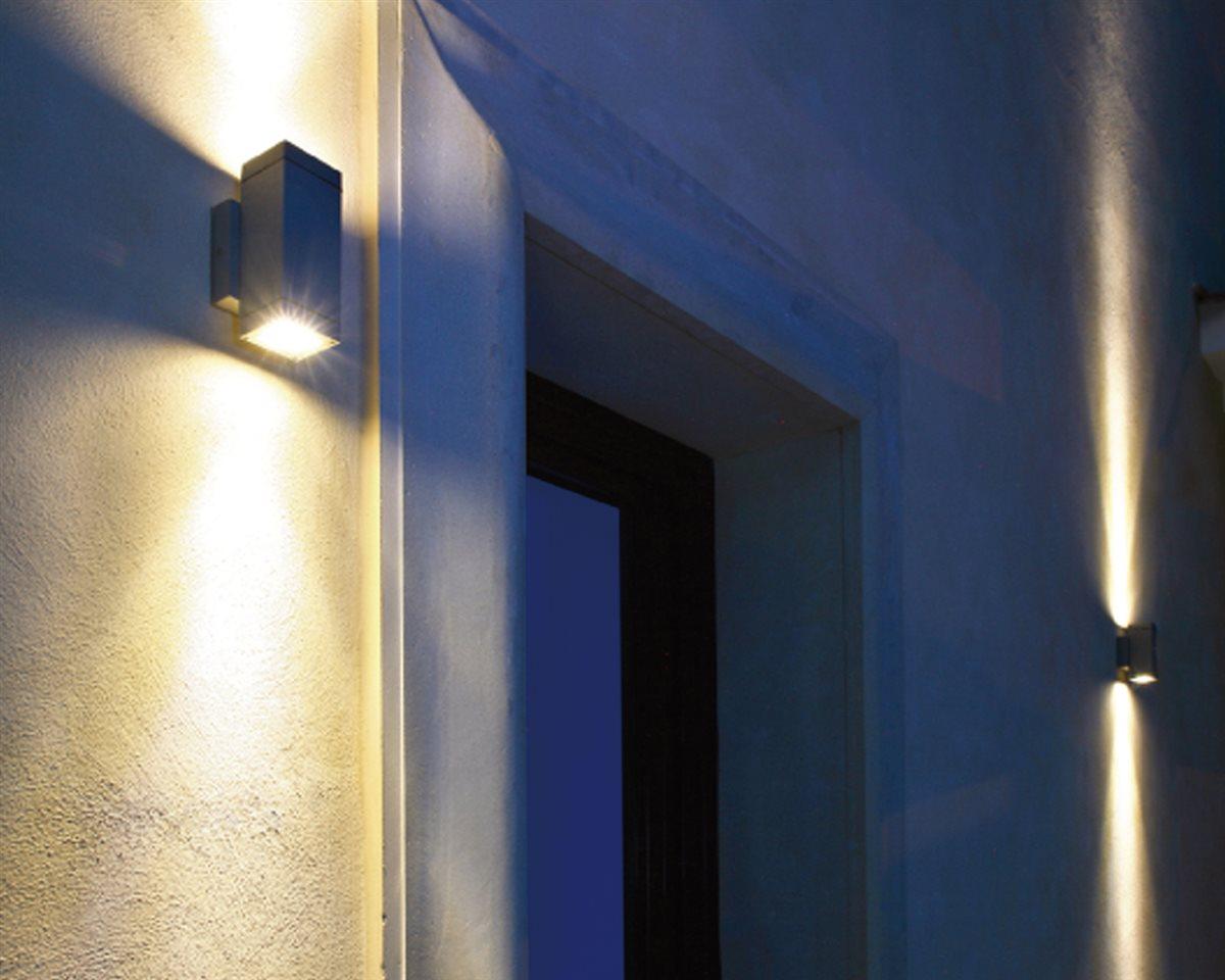 Lampenlux LED Außenleuchte Elton Außenlampe Wandlampe Wandleuchte Up Down Light 8-25cm IP54 GU10 Eckig Silber Tür Aluminium