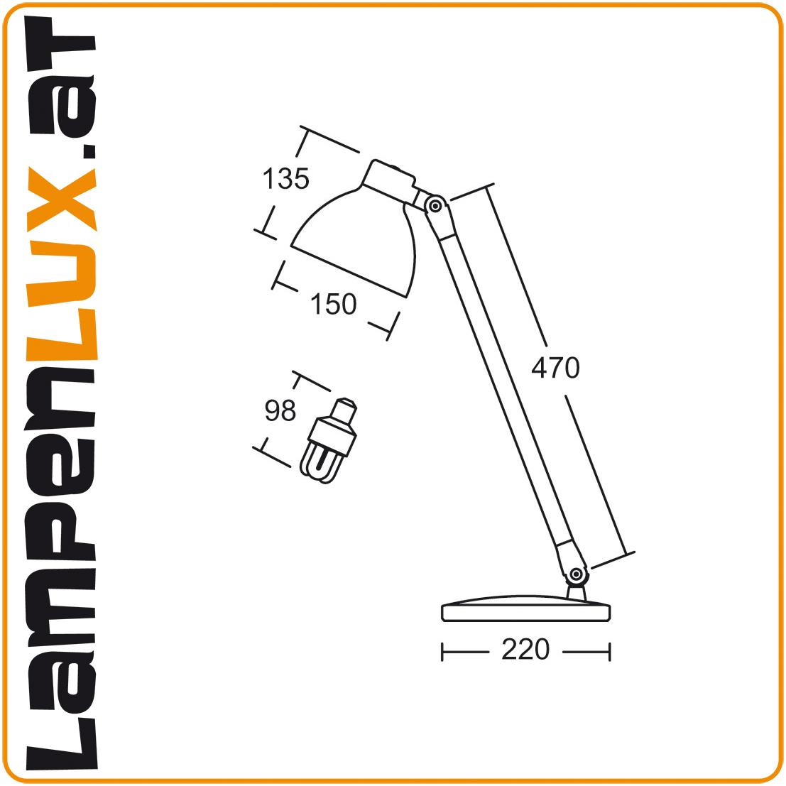 Lampenlux LED Tischlampe Pany Schreibtischlampe Bürolampe schwenkbar drehbahr Schalter