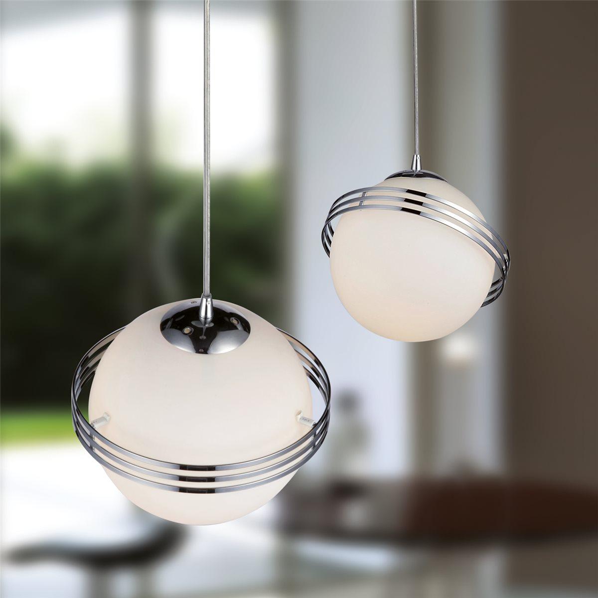 Lampenlux LED Pendelleuchte Bieno Hängeleuchte Glas Opal Weiß Kugellampe Ø30