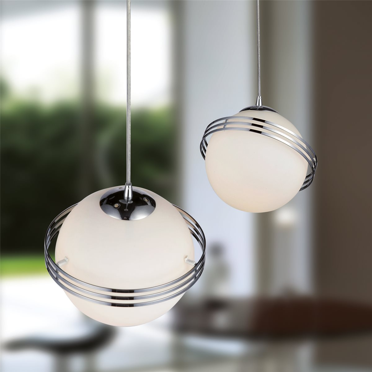 Lampenlux LED Pendelleuchte Bieno Hängeleuchte Effektlampe Glas Opal Weiß Kugellampe Ring