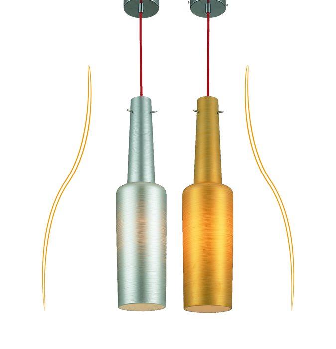 Lampenlux LED Pendelleuchte Bados Hängeleuchte Silber Gold Höhenverstellbar Chrom E27