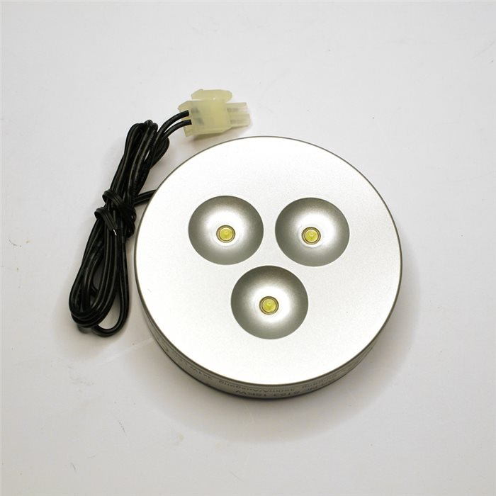 Lampenlux LED Einbaustrahler Einbauspot Aiko Anschlussfertig Silber 3W mit AMP Stecker