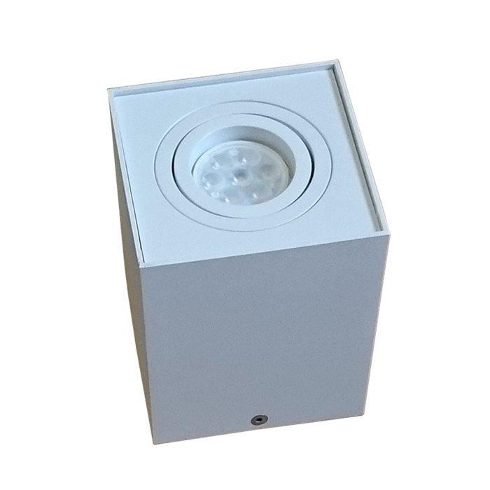 Lampenlux LED-Aufbaustrahler Aufbauleuchte Titus eckig Aluminium schwenkbar 9.6x9.6 cm