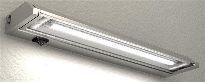 Lampenlux LED Unterbauleuchte Ajax Unterbaulampe Küchenlampe Küchenleuchte Aufbauleuchte Aufbaulampe Schwenkbar Silber Stromkabel 60cm - 90cm