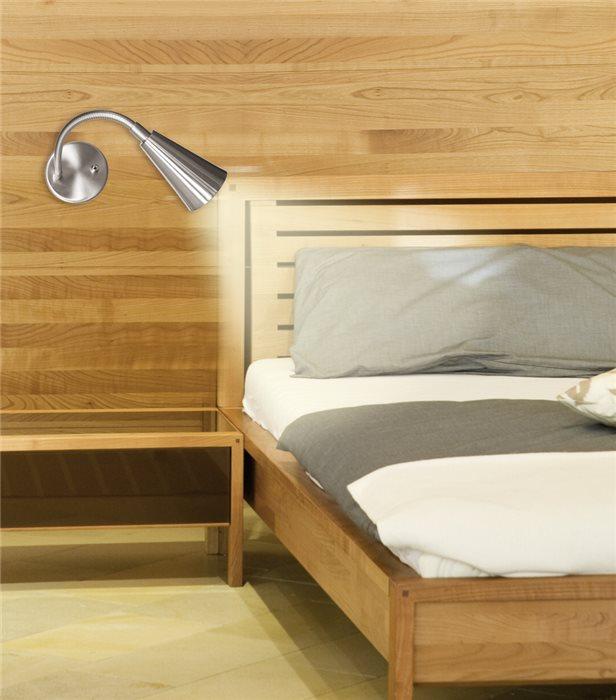 Lampenlux LED Bettlampe Kansas Schwanenhals Leselicht Leselampe Schalter Nickel Aluminium