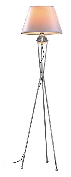 Lampenlux LED Stehlampe Bella Stehleuchte Stoff Nickel Chrom Weiß Grau 172cm