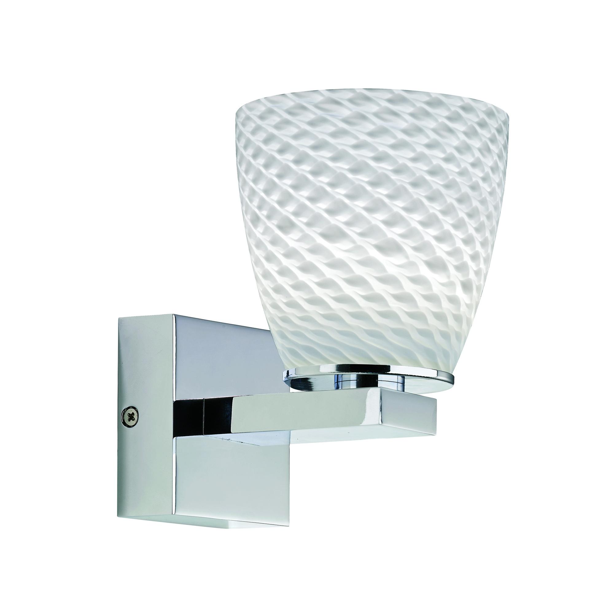 Lampenlux LED Wandlampe Alonso Kristall Glas Glasschirm Opal/weiß Chrom 3W inkl. Driver Wandleuchte