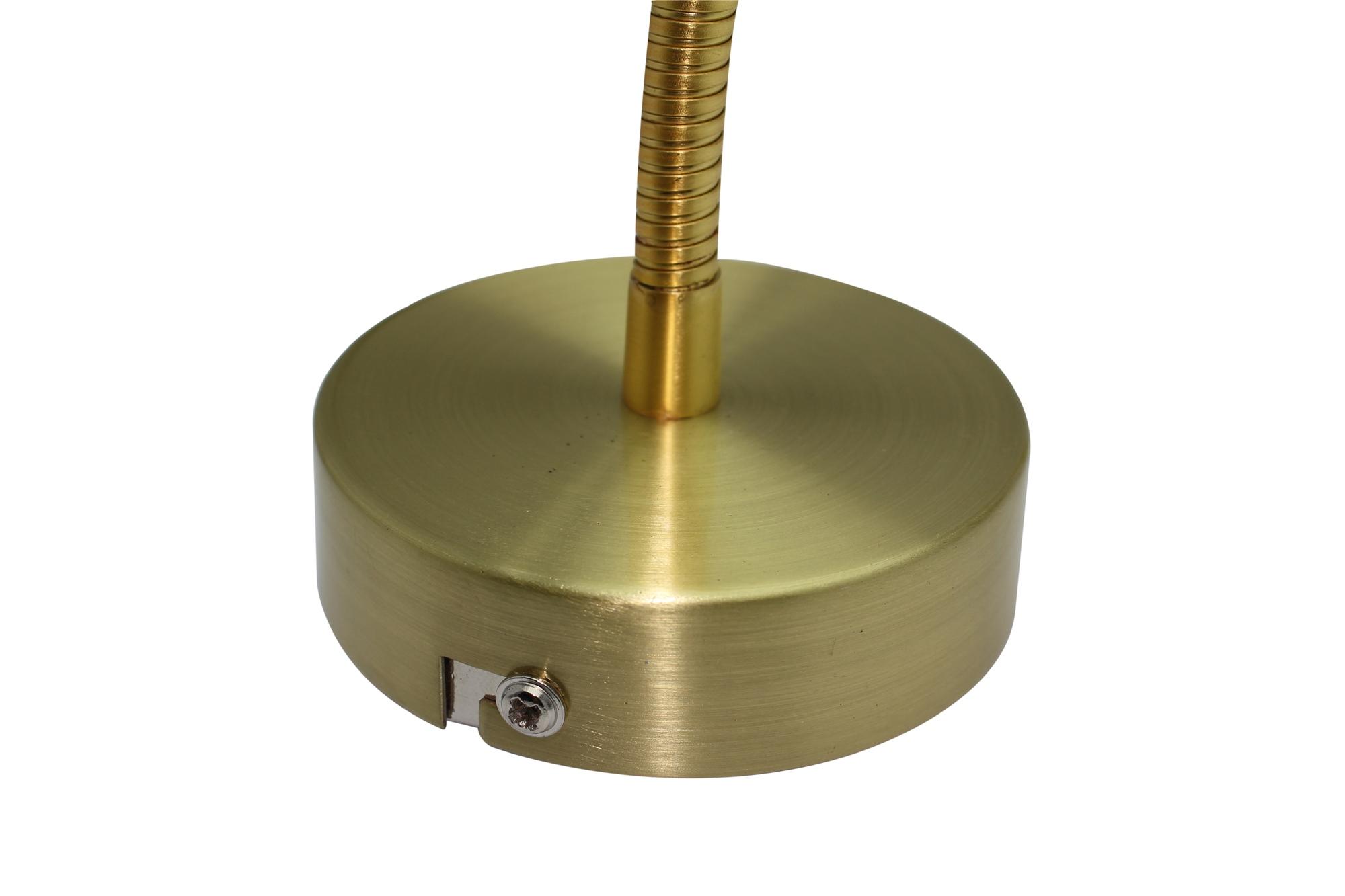 Lampenlux High Power LED Wandlampe Wandleuchte Amur Leselampe Schalter Schwanenhals Bettleuchte Bettlampe Gold 1W