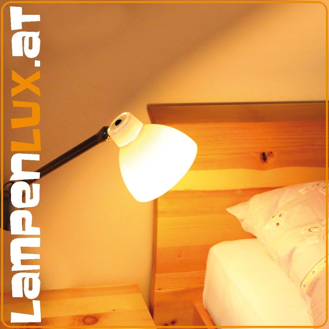 Lampenlux LED Bettlampe Pluto Bettleuchte Wandlampe Wandleuchte Leseleuchte Leselicht Schwarz Weiß Schalter schwenkbar Schreibtischlampe beweglich
