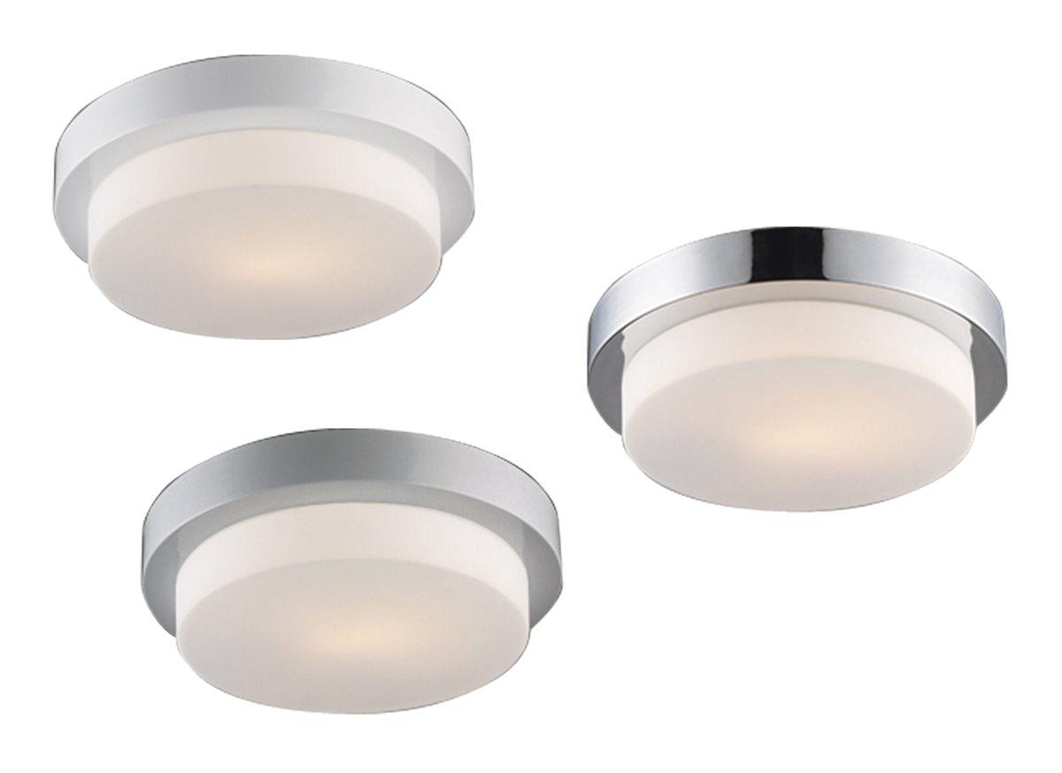 Lampenlux LED Aussenleuchte Dario IP44 230V E27 Ø24cm - Ø35cm Deckenlampe Badlampe Rund Glas Weiß Chrom Nickel Terasse Deckenleuchte