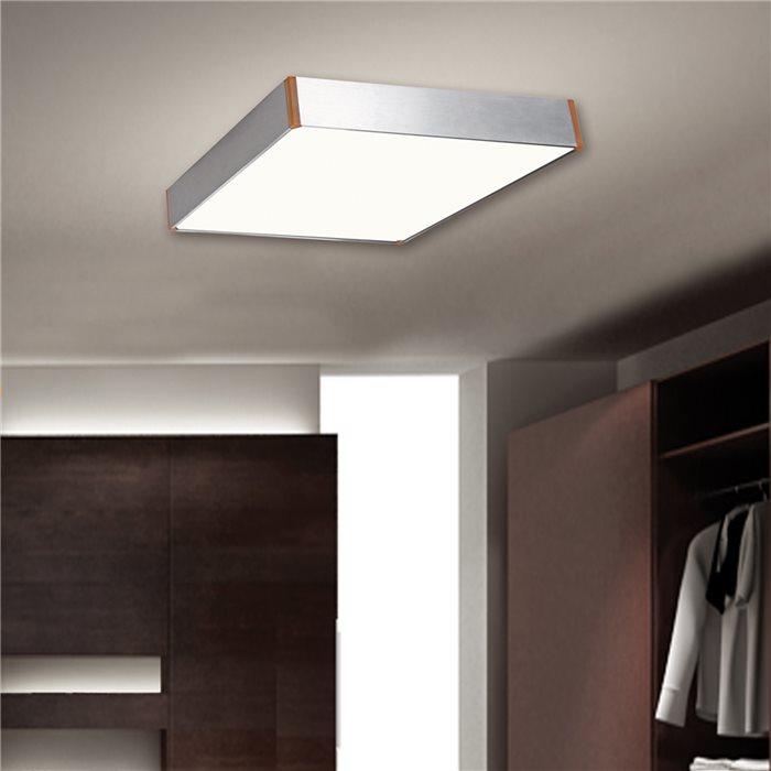 Lampenlux Decken Lampe Leuchte Dennis Silber Eckig T5 14W Maße:60x60cm inkl LM Aluminium Leuchtstoffröhre
