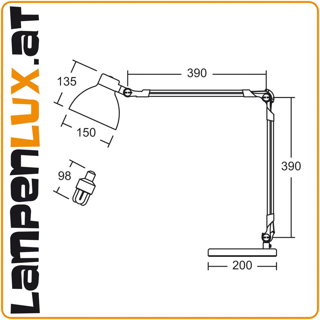 Lampenlux LED Tischlampe Pana Schreibtischlampe Bürolampe schwenkbar drehbahr Schalter