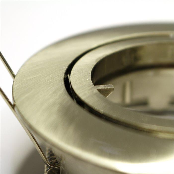 Lampenlux LED-Einbaustrahler Spot Samila rund schwenkbar Nickel sat. rostfrei 8.3cm MR16 12VEinbauleuchte Einbaulampe Einbauspot Spot Strahler Punktstrahler Aluminium Downlight Down Deckeneinbaustrahler Deckeneinbauleuchte