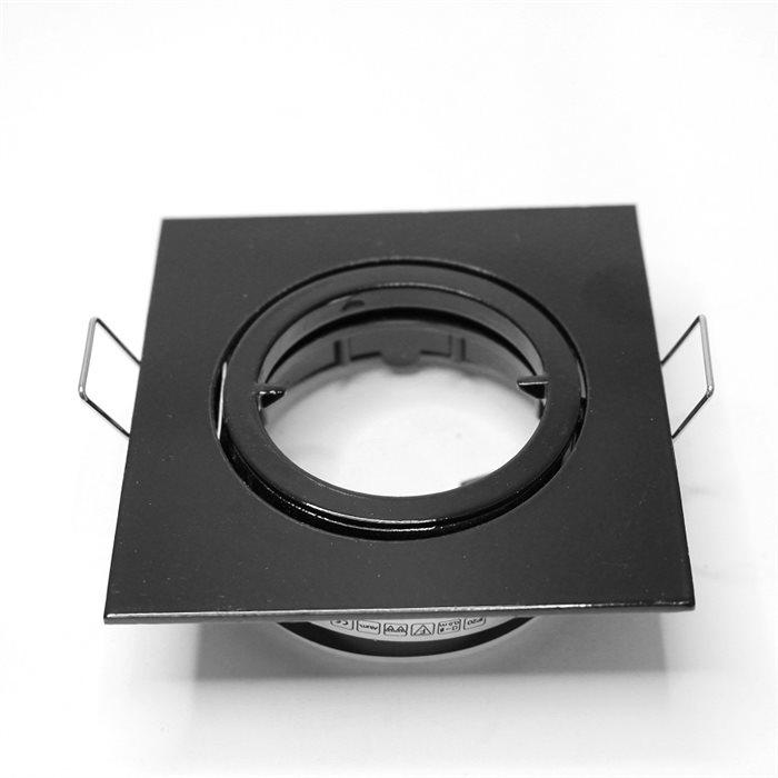 Lampenlux LED-Einbaustrahler Spot Snap eckig schwarz schwenkbar 8.2x8.2cm 230V GU10 rostfreiEinbauleuchte Einbaulampe Einbauspot Spot Strahler Punktstrahler Aluminium Downlight Down Deckeneinbaustrahler Deckeneinbauleuchte