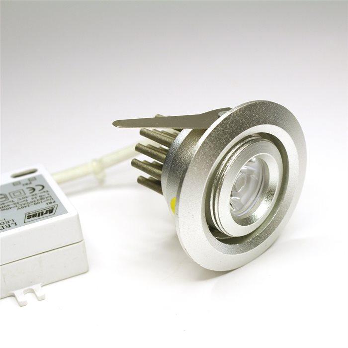 Lampenlux LED Einbaustrahler Spot Raisha rund silber schwenbar 230V Ø5.2cm inkl Trafo