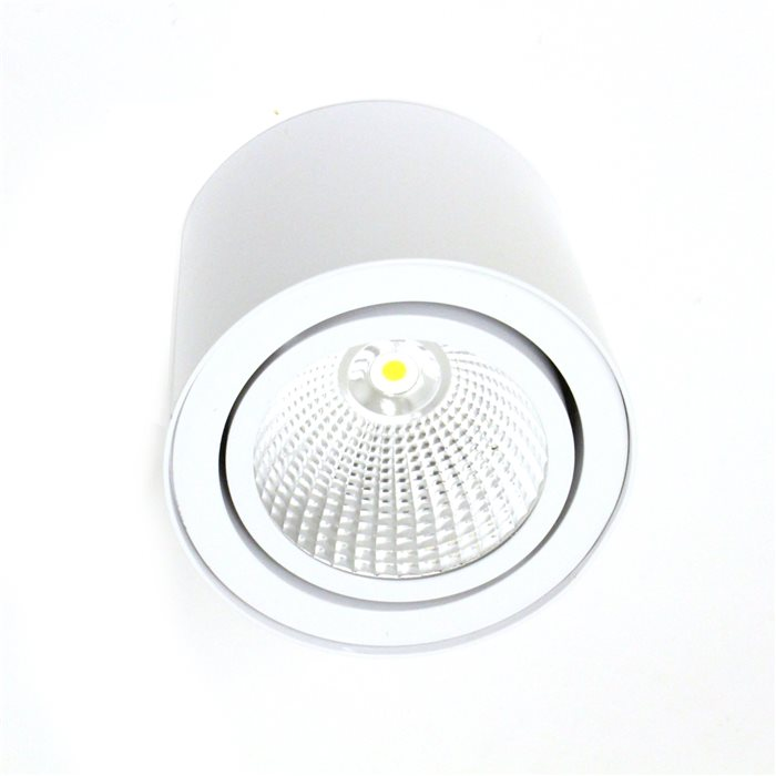 Lampenlux LED-Aufbaustrahler Aufbauleuchte Trigger weiß schwenkbar Ø16.6cm warmweiß Einbauleuchte Einbaulampe Einbauspot Spot Strahler Punktstrahler Aluminium Downlight Down Deckeneinbaustrahler Deckeneinbauleuchte