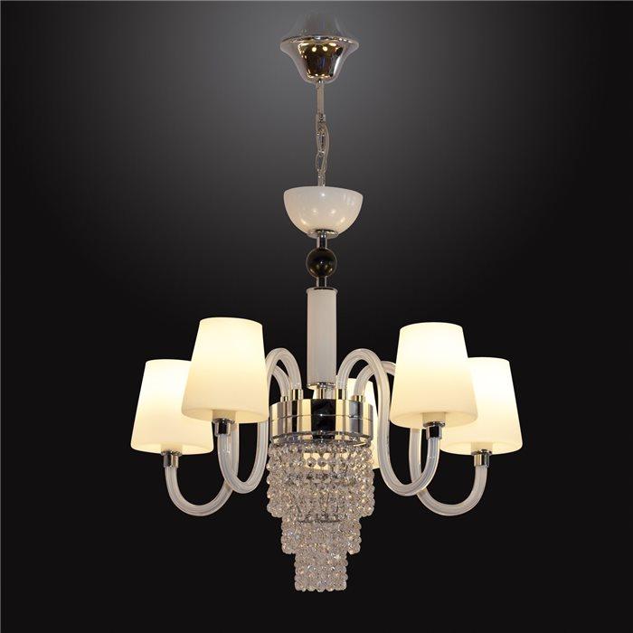 Lampenlux LED Pendelleuchte Baran Hängeleuchte Chrom Glasschirm Kristall Lüster 5-12 LM