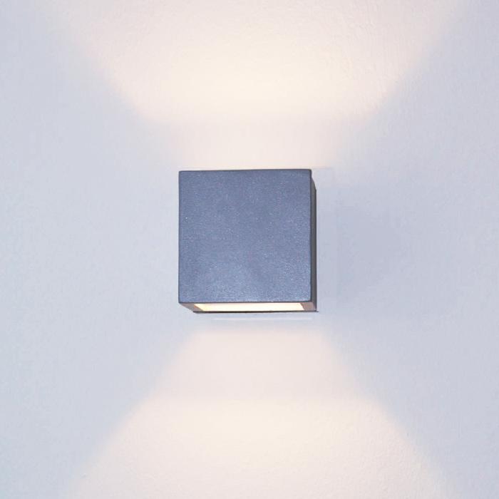 Lampenlux LED Aussenleuchte Karo Wandlampe Wandleuchte Up Down Eckig Silber Aluminium 4W