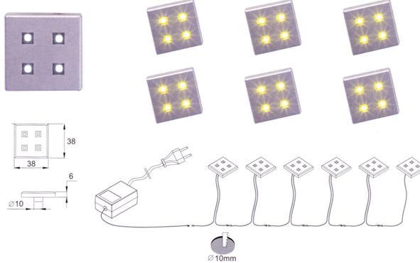 Lampenlux LED-Einbaustrahler Möbel Ranco eckig silber 3.8x3.8cm 6er Set inkl Trafo + Kabel