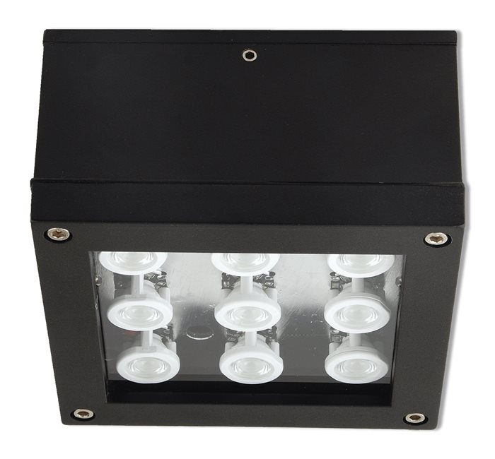 Lampenlux LED Aussenleuchte Egor Deckenleuchte Schwarz Eckig 9W Strahler IP44