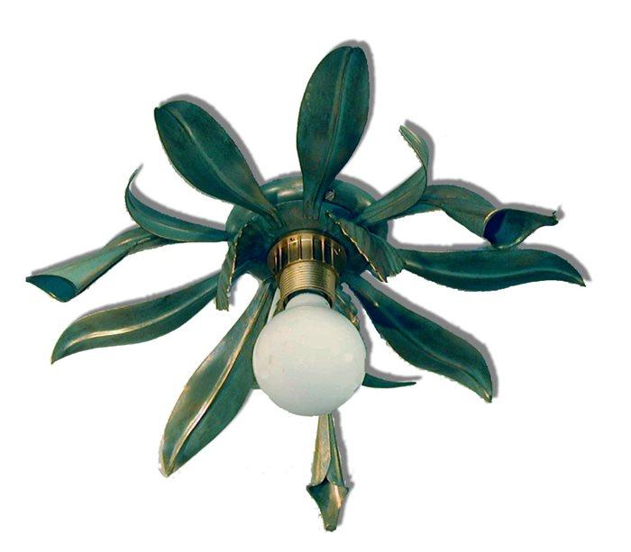 Lampenlux Designer Deckenleuchte Deckenlampe Floras grün Kupfer E27 60W Blätter