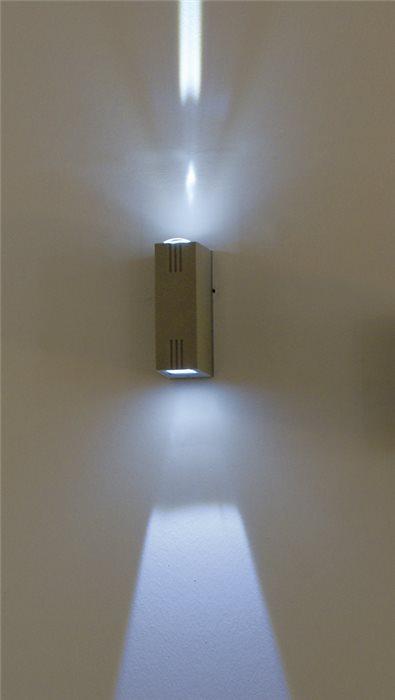 Lampenlux LED Aussenleuchte Kali Wandlampe Wandleuchte Up Down Eckig Silber Aluminium 6W