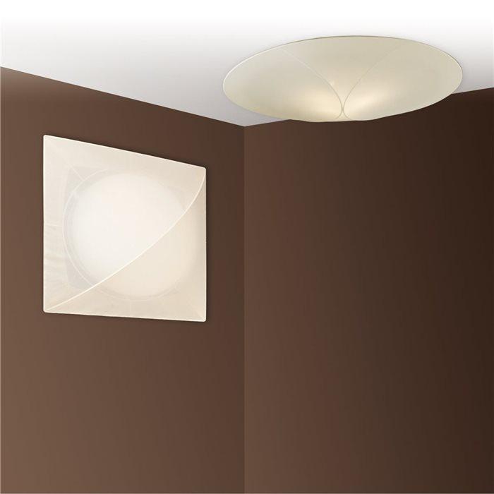 Lampenlux Deckenlampe Raja Stoffschirm Eckig Rund EVG Energiesparlampe