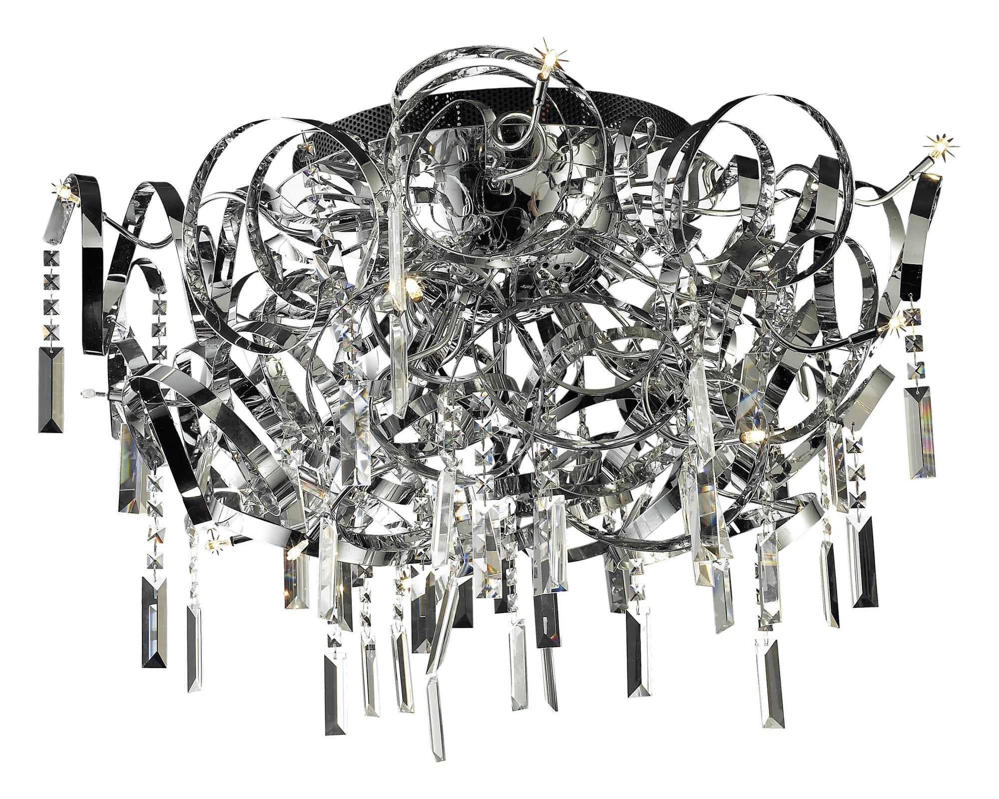 Lampenlux Deckenlampe Deckenleuchte Dina mit Glasblätter chrom G4 20W Ø:60cm
