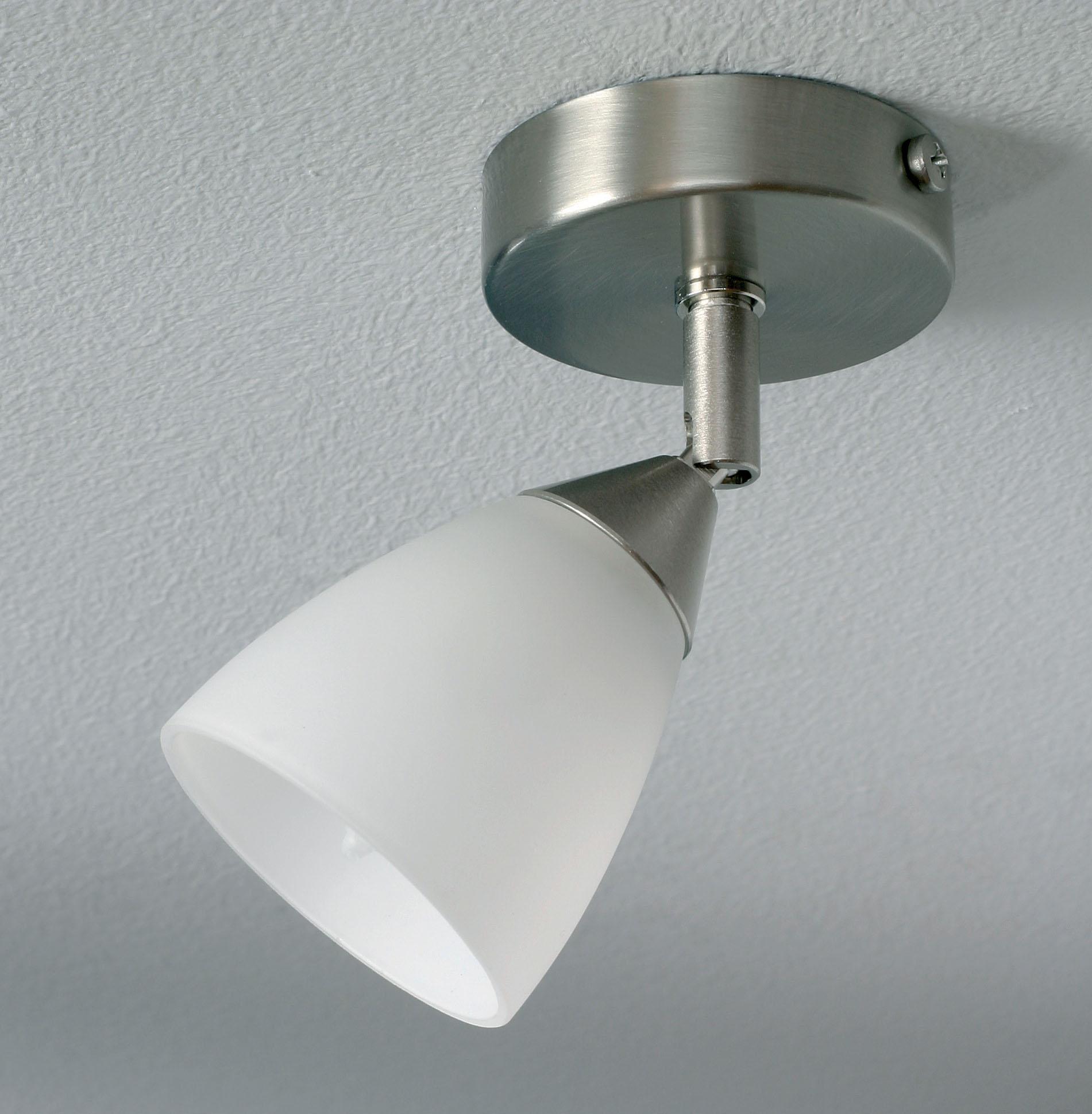 Lampenlux Deckenlampe Artes Deckenleuchte LED nickel satiniert Deckenlicht 40W Deckenstrahler Opal 200lm schwenkbar