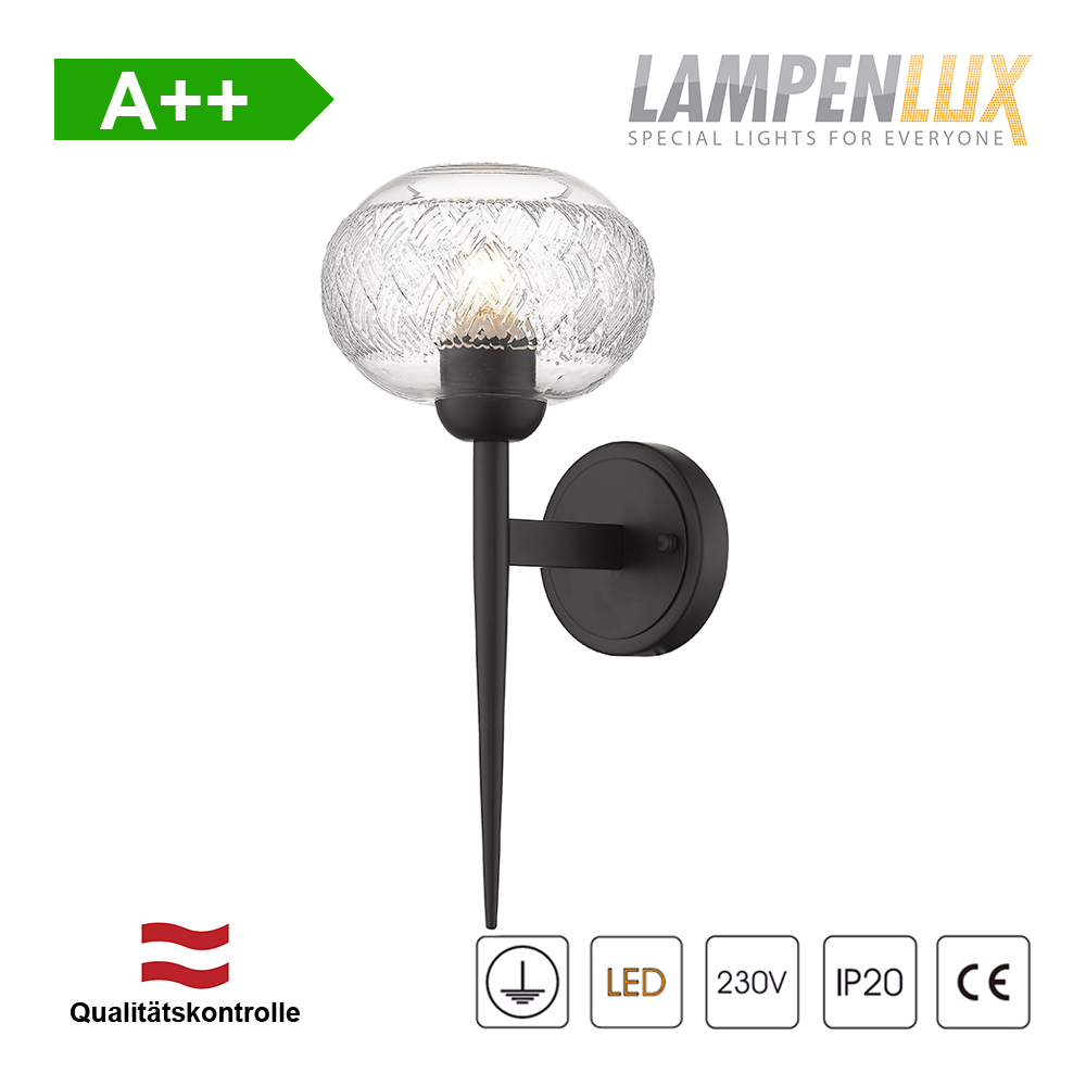 Lampenlux Design Wandlampe Rita Tischlampe mit Glasschirm