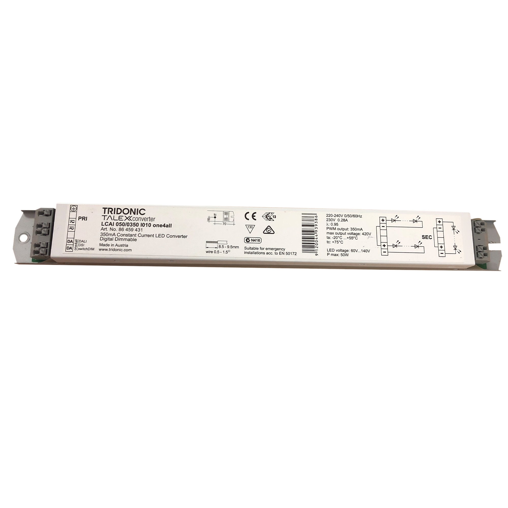 Tridonic TALEXX Converter LCAI 050/0350 I010 one4all 350mA Konstantstrom LED Trafo