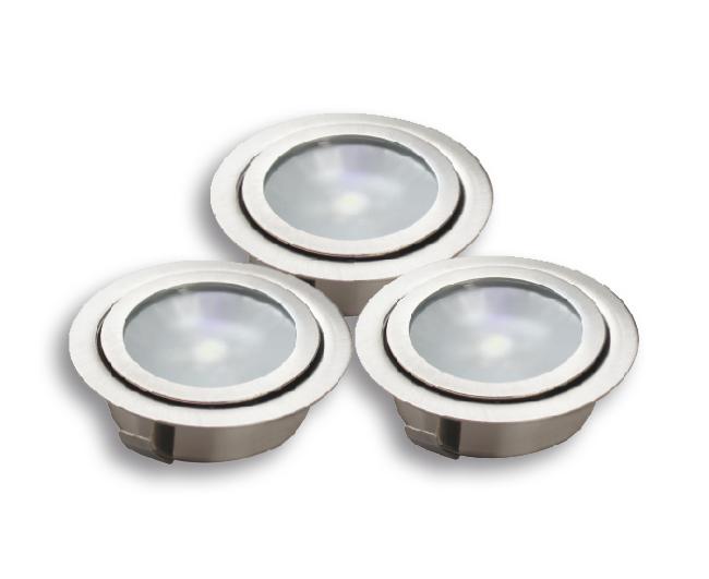 Lampenlux LED-Einbaustrahler Spot Rani rund silber Ø7.0cm 3er Set mit Trafo und KabelEinbauleuchte Einbaulampe Einbauspot Spot Strahler Punktstrahler Aluminium Downlight Down Deckeneinbaustrahler Deckeneinbauleuchte