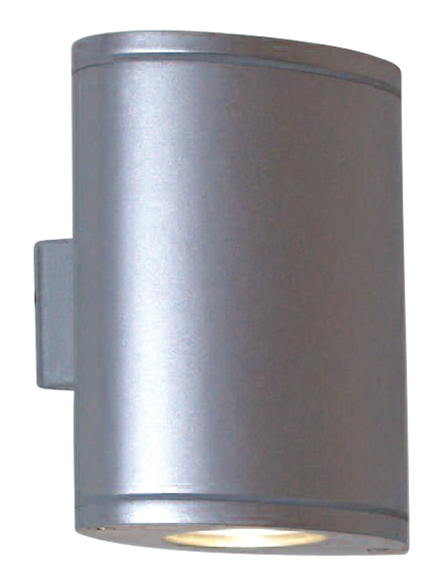 Lampenlux LED Aussenleuchte Emir Wandlampe Wandleuchte Up Down Oval Aluminium Grau 6W IP44