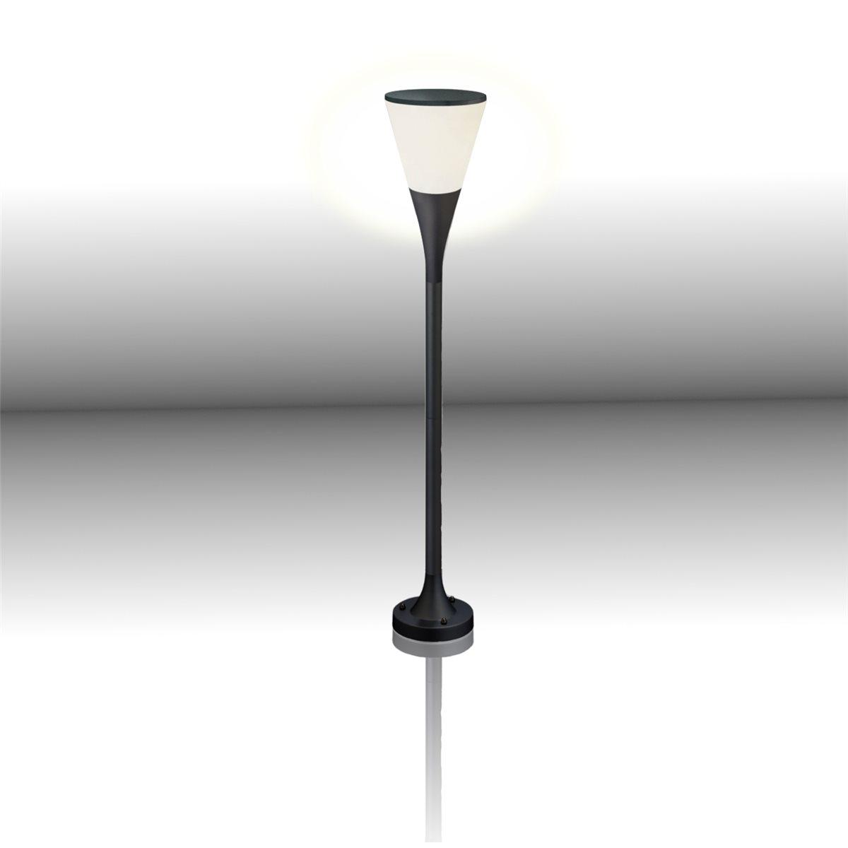 Lampenlux LED Aussenleuchte Elvis Gartenlampe Schwarz Poller Laterne Wegeleuchte H:100cm Ø17cm