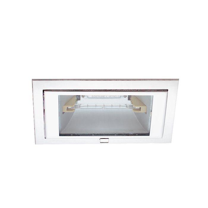 Lampenlux Einbaustrahler Tiram eckig 60° schwenkbar 21,5x14,6cm Aluminium rostfrei (Weiß)