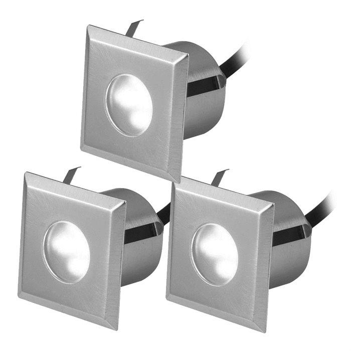 Lampenlux 3er SET LED Einbaustrahler Rimy Außenleuchte Spot Down Weiß Trafo 230V