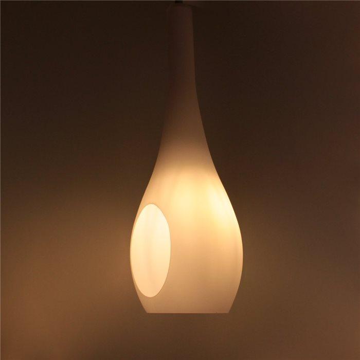 Lampenlux LED Pendelleuchte Bero Hängeleuchte Glas Opal Weiß Tropfenlampe Höhenverstellbar