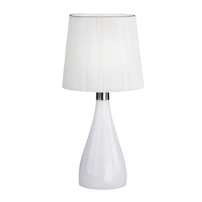 Lampenlux LED Tischlampe TAIRA Nachttischlampe Weiß Stoff Deko Chromring E27