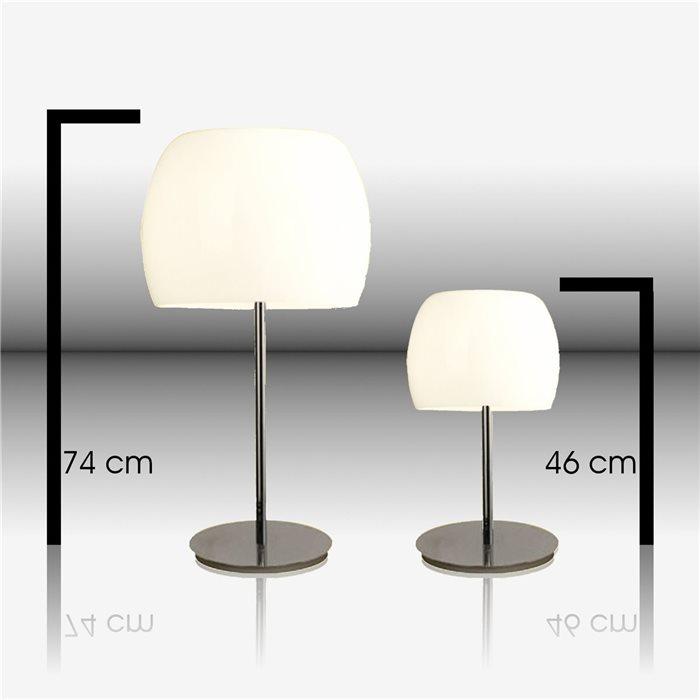 Lampenlux Tischlampe Mara Nachttischleuchte Bettleuchte Glas Weiß Chrom Deko