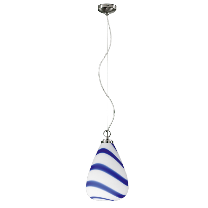 Lampenlux Thunder Hängeleuchte Murano Glas Blau Weiß Ø24cm 100W E27