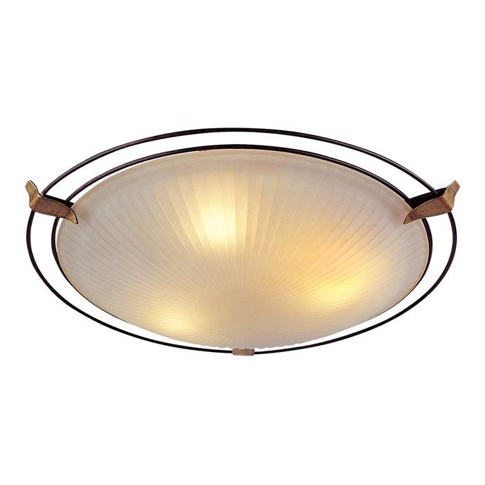 LED Deckenlampe Leuchte Zito Glas Grün-Bronze Antik Rost-Braun Ø40cm IP20 2xE14