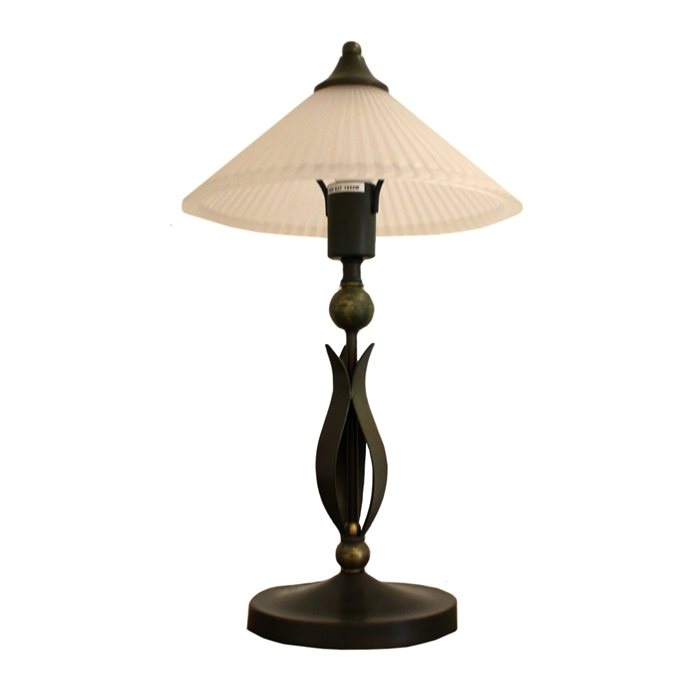 Lampenlux LED Tischlampe Aga Nachttischlampe Bettleuchte Landhaus Bronze Rost Rustikal