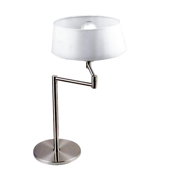 Lampenlux LED Tischlampe Biela Nachttischlampe Bettleuchte schwenkbar Weiß Nickel Deko